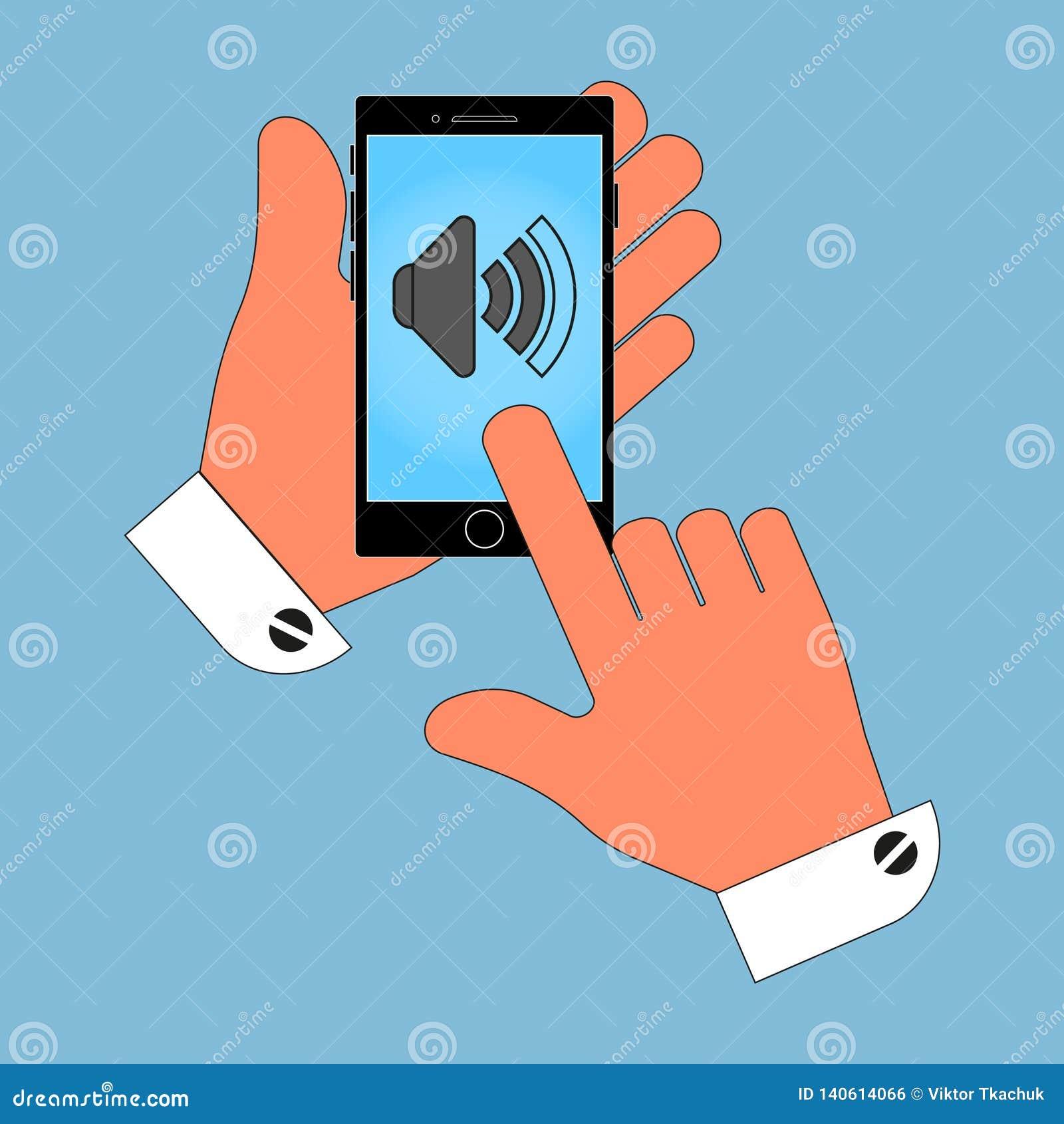 In hand pictogram de telefoon, het volumeteken op scherm, isoleren op blauwe achtergrond