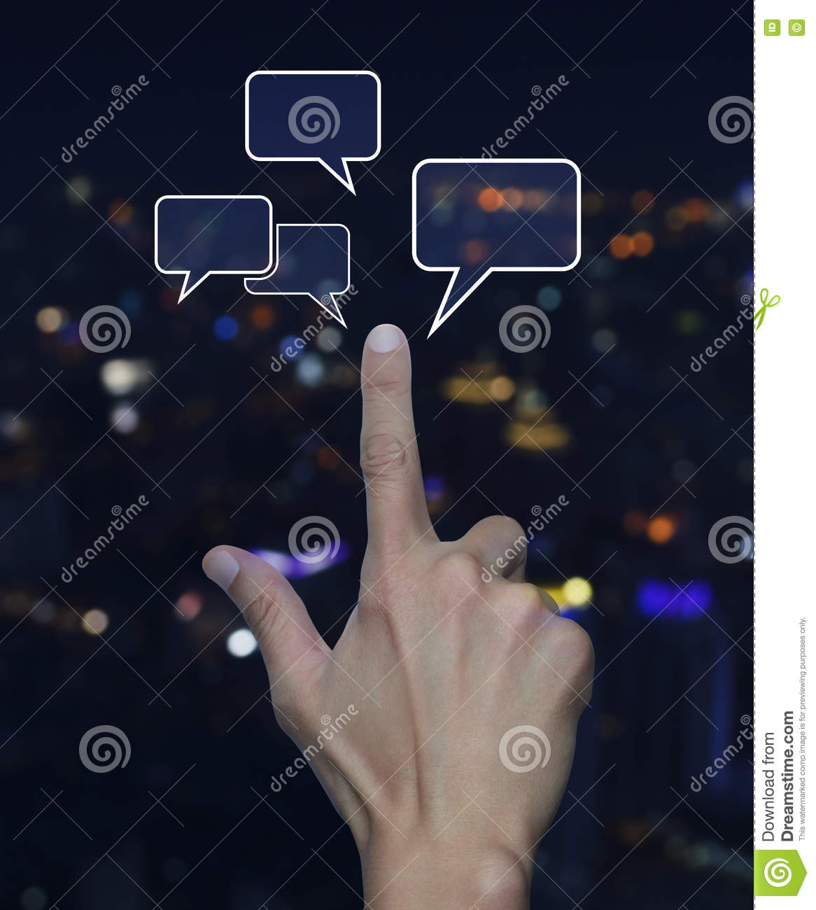 Light Tower Networks: Hand Point To Social Chat Sign And Speech Bubbles Over