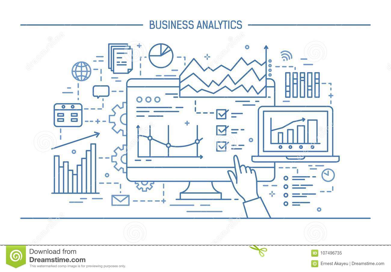 Hand pointing at computer screen or display with various diagrams, charts and graphs. Concept of statistical data