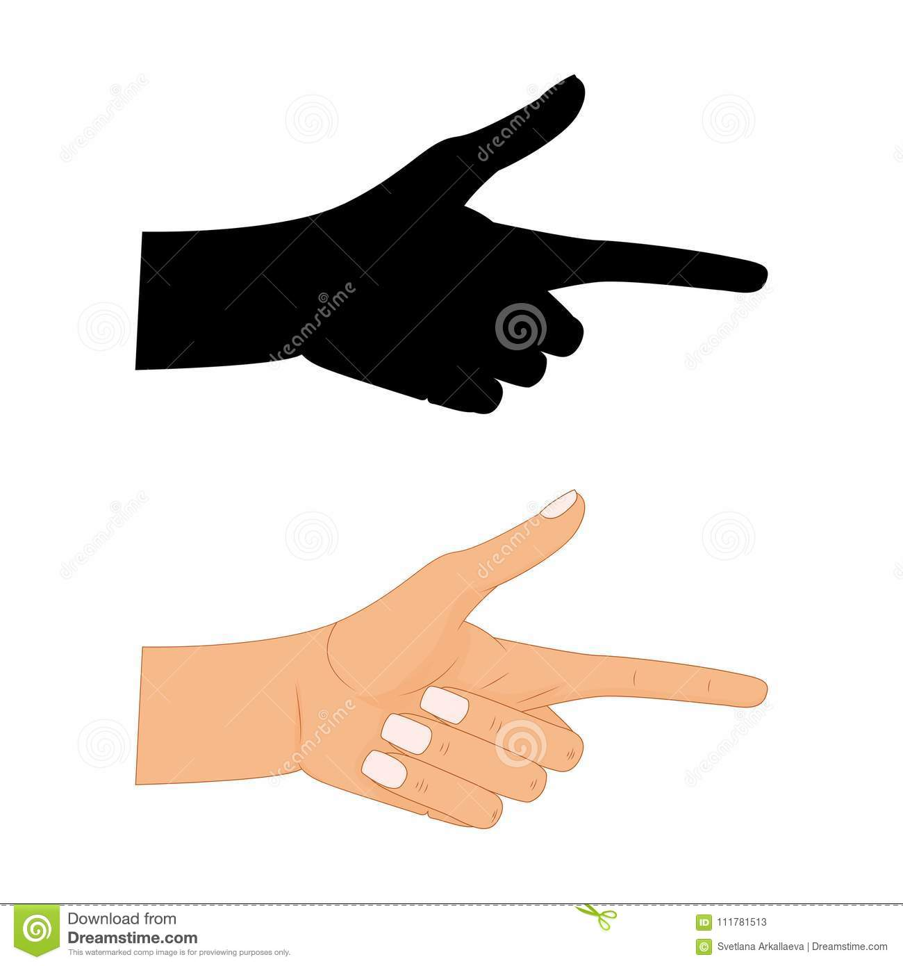 Hand with pointing finger Vector illustration , Pointing fingers, hand drawn hands isolated on white background