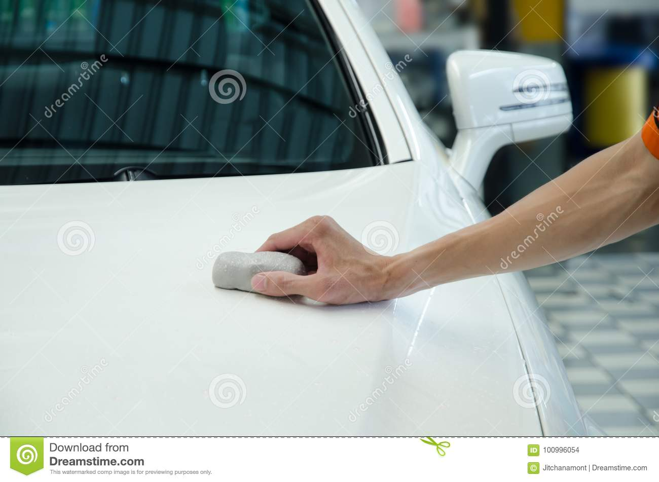 Hand Polishing By Clay Bar  Stock Photo - Image of remove