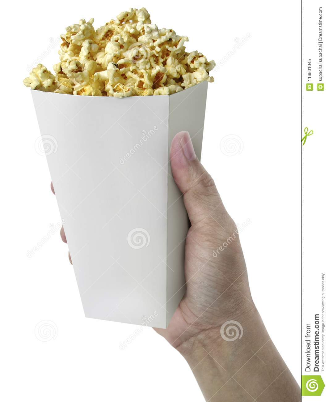 Hand with Popcorn, in hand isolated on white background