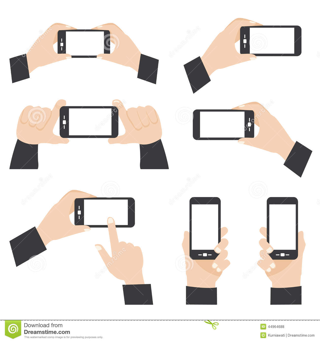 Hand Position Holding Mobile Phone Stock Vector - Image ...