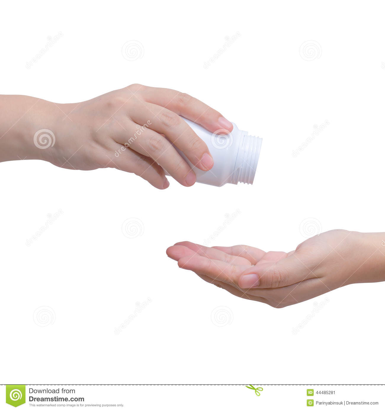 hand pouring drug pills out of bottle into another hand