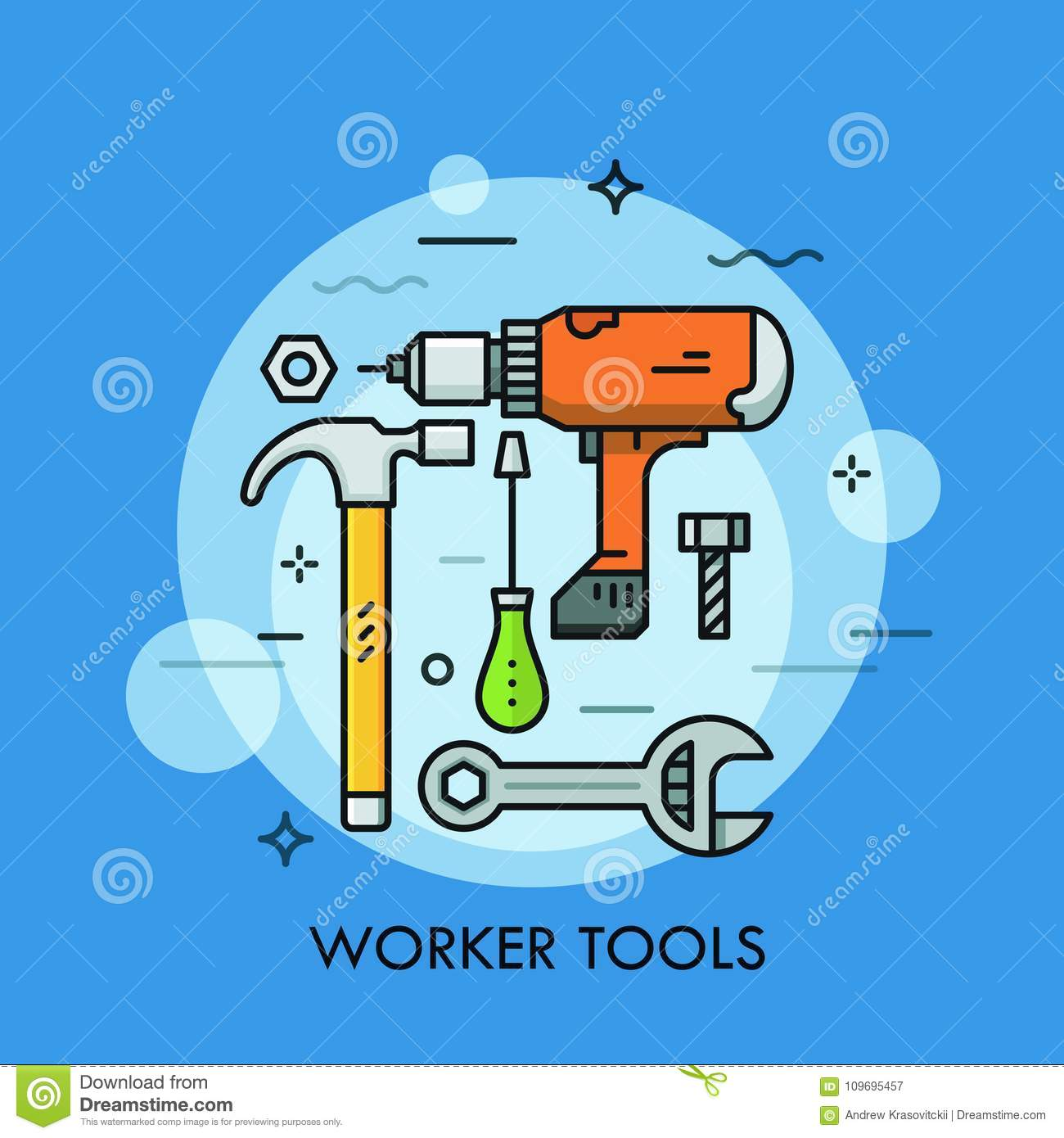 Hand And Power Tools And Machines - Screwdriver, Wrench, Electric