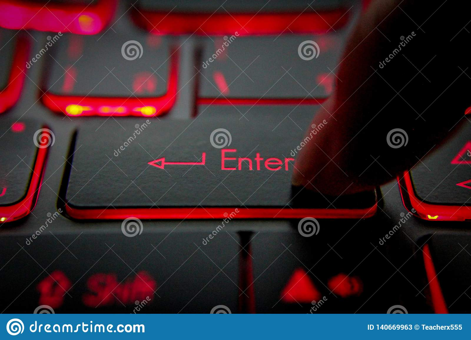 Hand pressing `enter``Del` `Backspace` button on computer and Red LED - Image