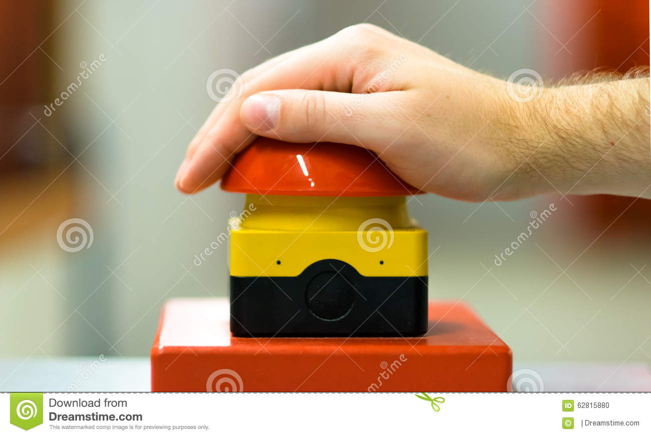 Hand Pressing Red Buzzer Game Emergency Button Stock Photo