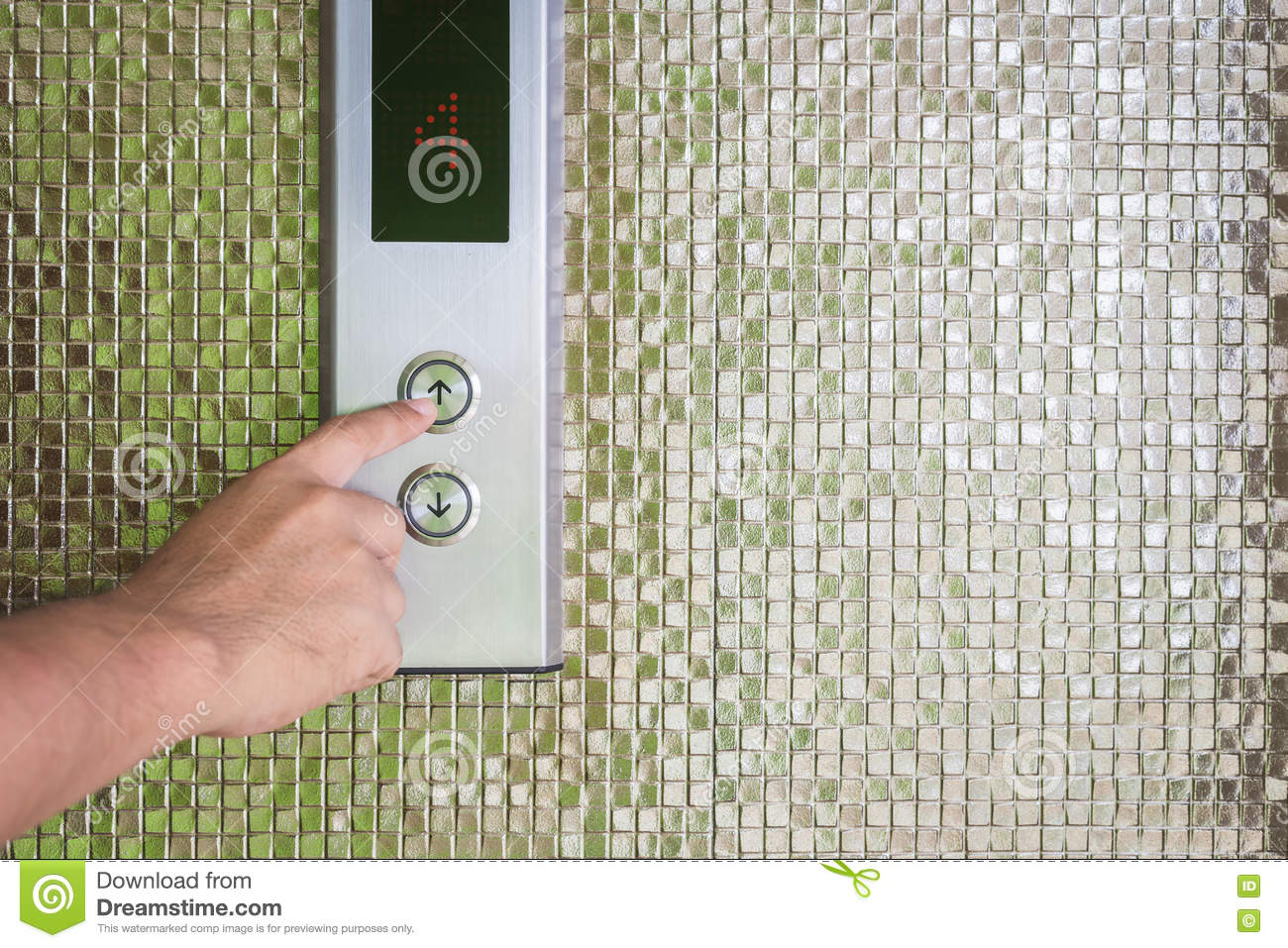 Hand Pressing Silver Elevator Button Stock Image - Image of
