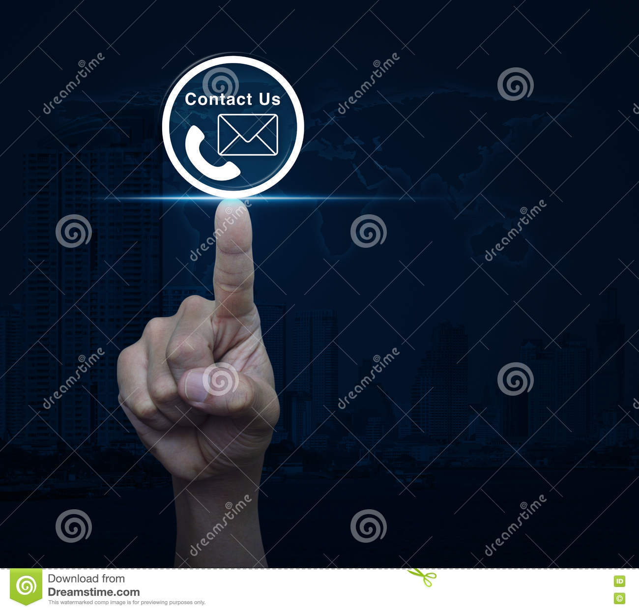 Hand Pressing Telephone And Mail Icon Button Over Map And City T - Free us map mail