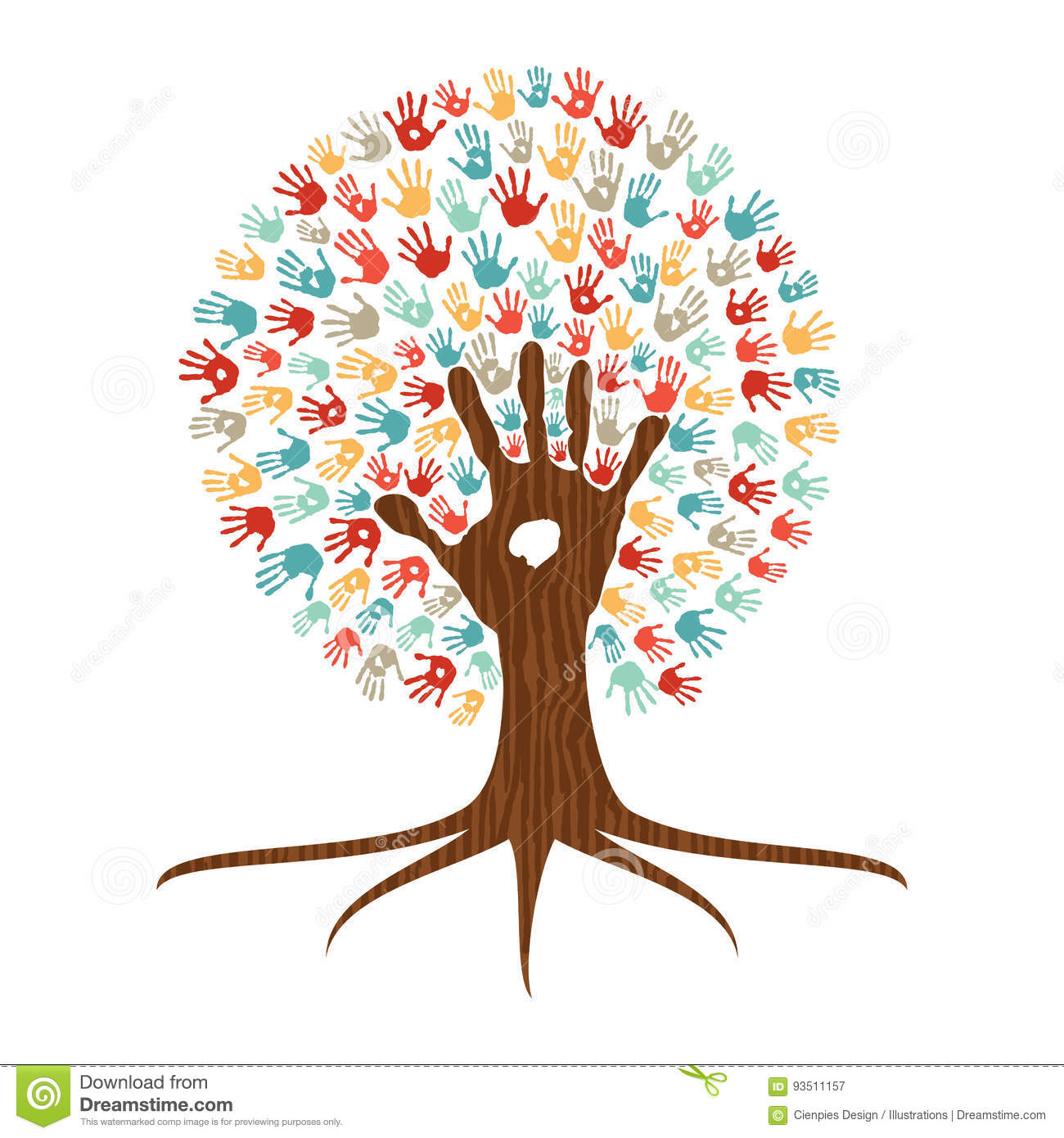 Plant top view vector in group download free vector art stock - Hand Print Art Tree Illustration For Community Help Stock Vector