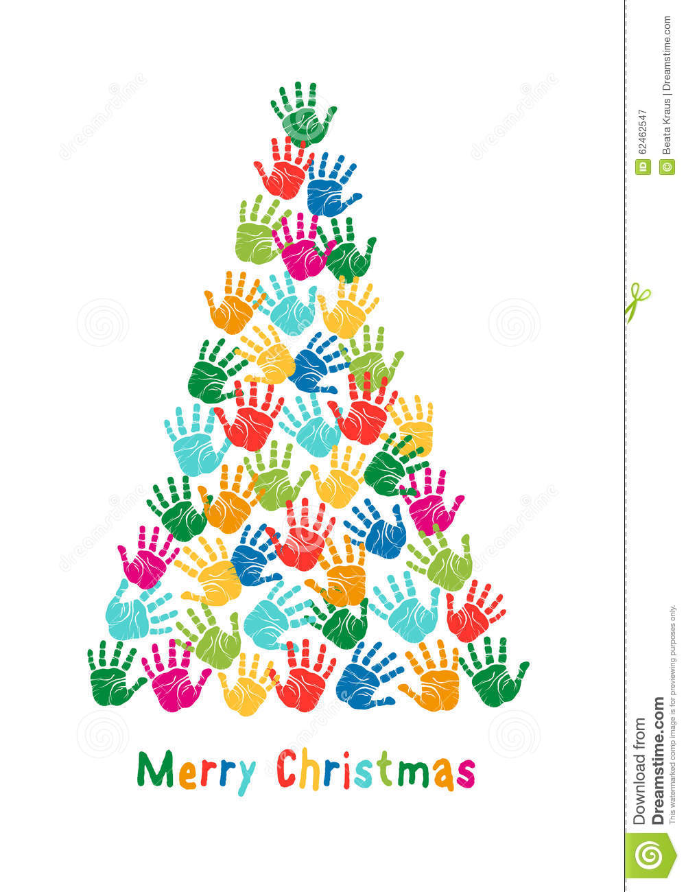 Hand Print Christmas Tree, Vector Stock Vector