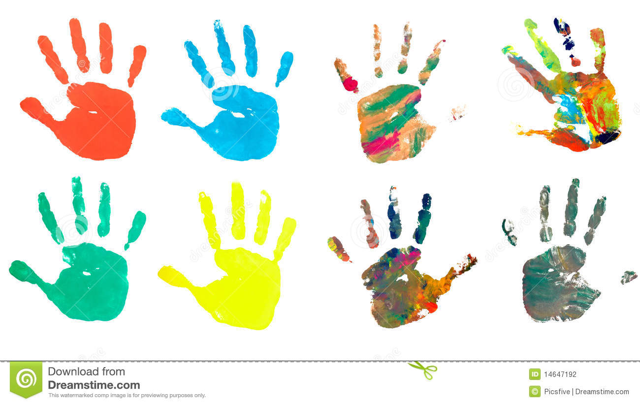 Hand Print Color Art Craft Trace Paint Stock Photo - Image of ...