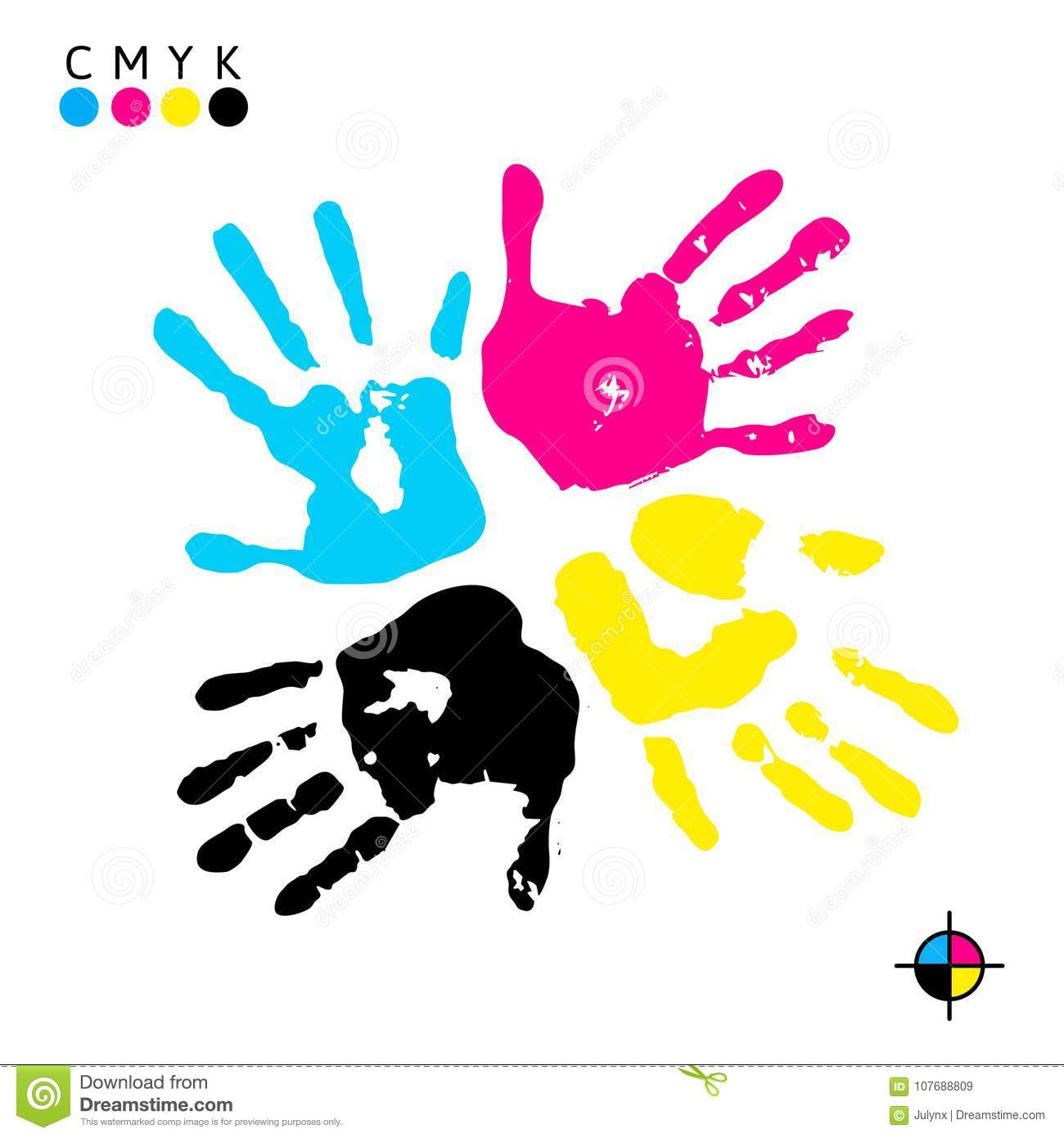 Hand Print Prints Of Different Colors