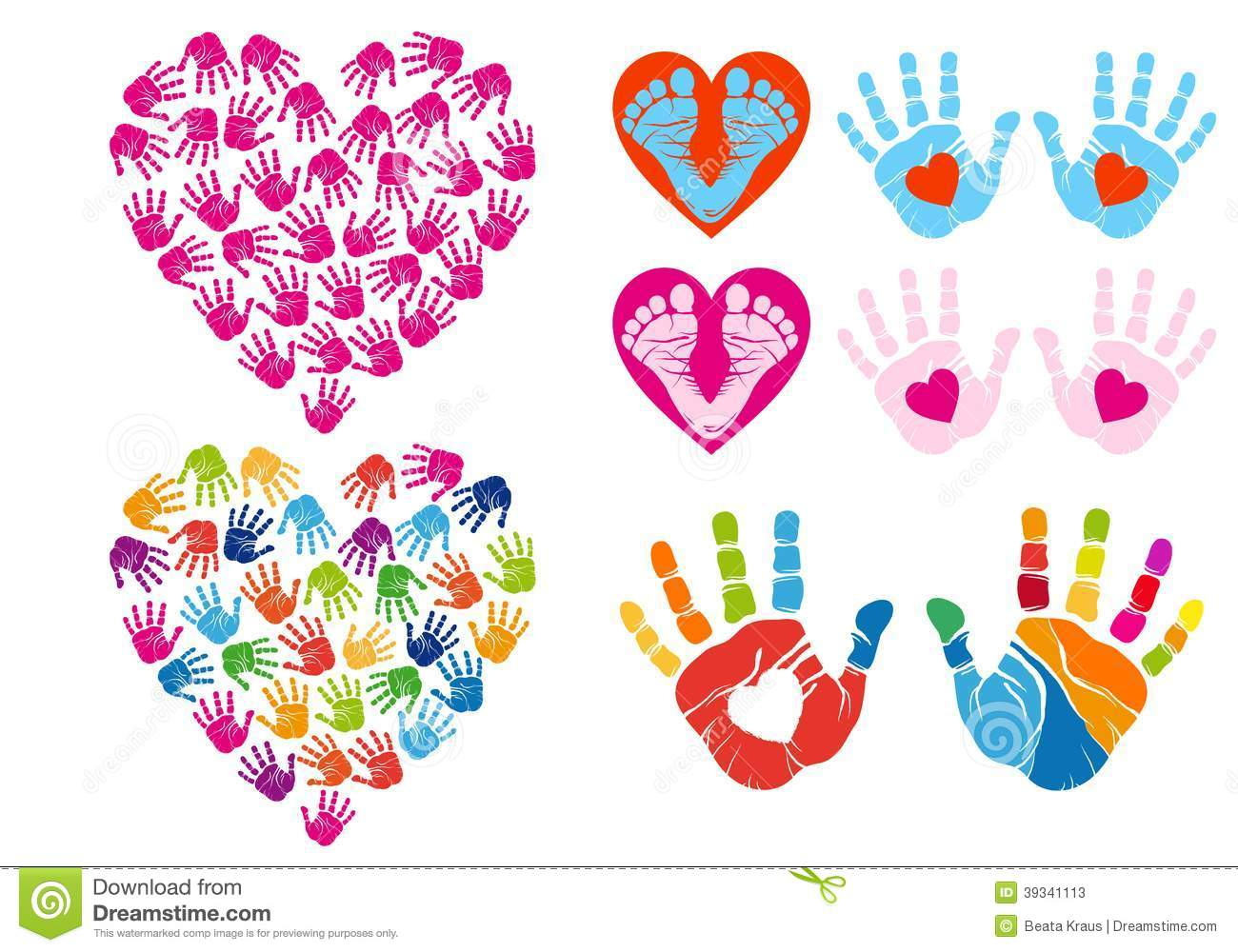 Handprint Heart Clipart Hand print hearts  vector set