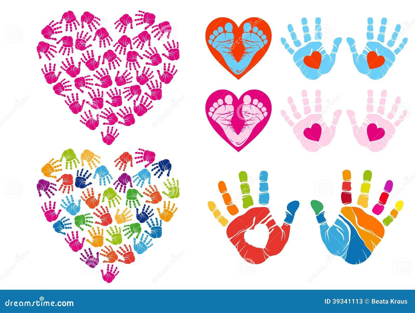 hand print hearts vector set stock vector illustration of foot rh dreamstime com Baby Foot Clip Art Foot Clip Art Black and White
