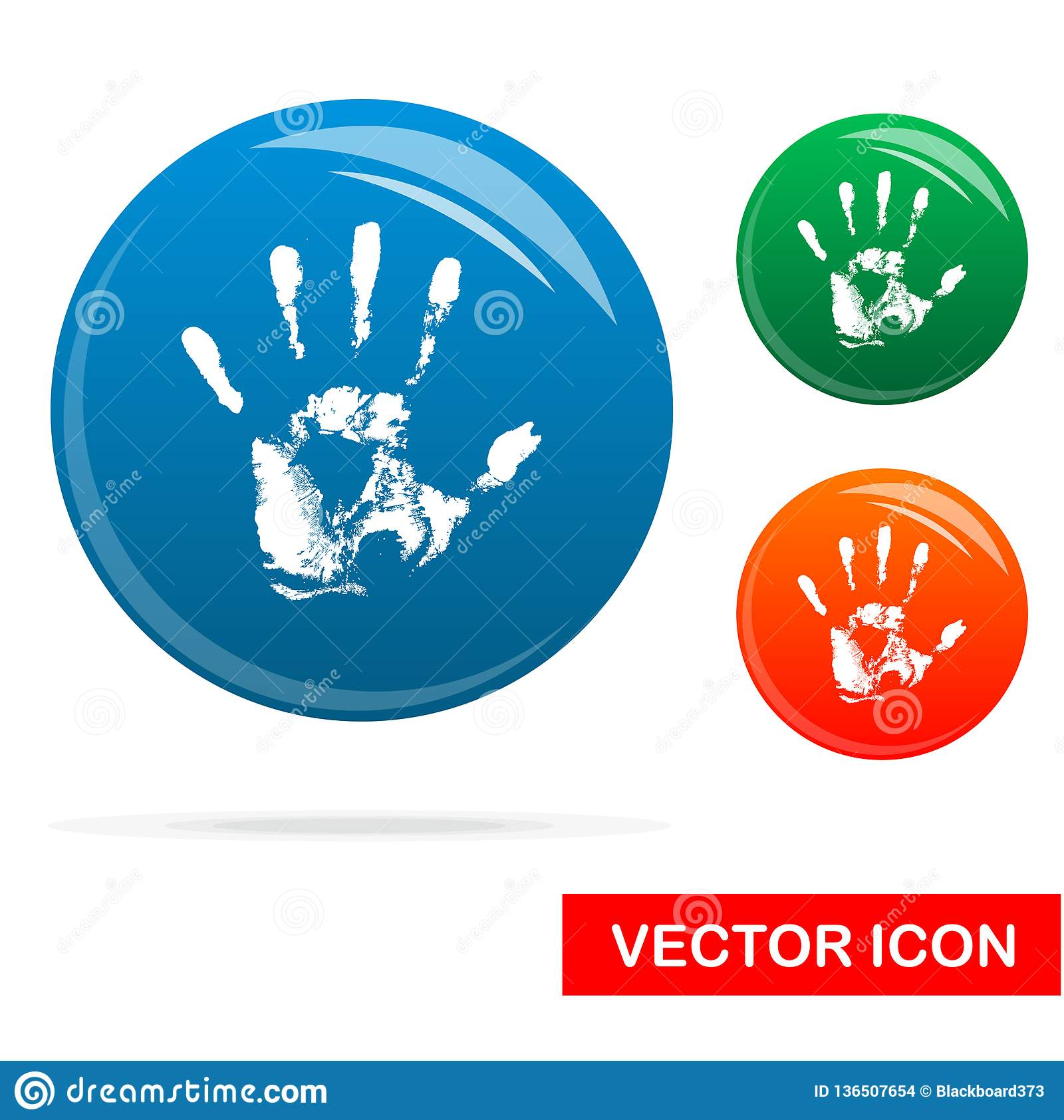 Hand print Icon on white background, Vector Icon