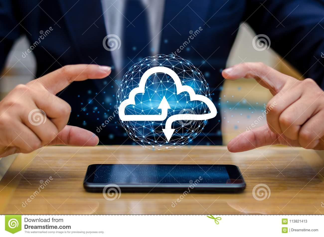 Hand print keyboard phone Press enter button on the computer hand businessman connect Cloud collect data Cloud computing concept