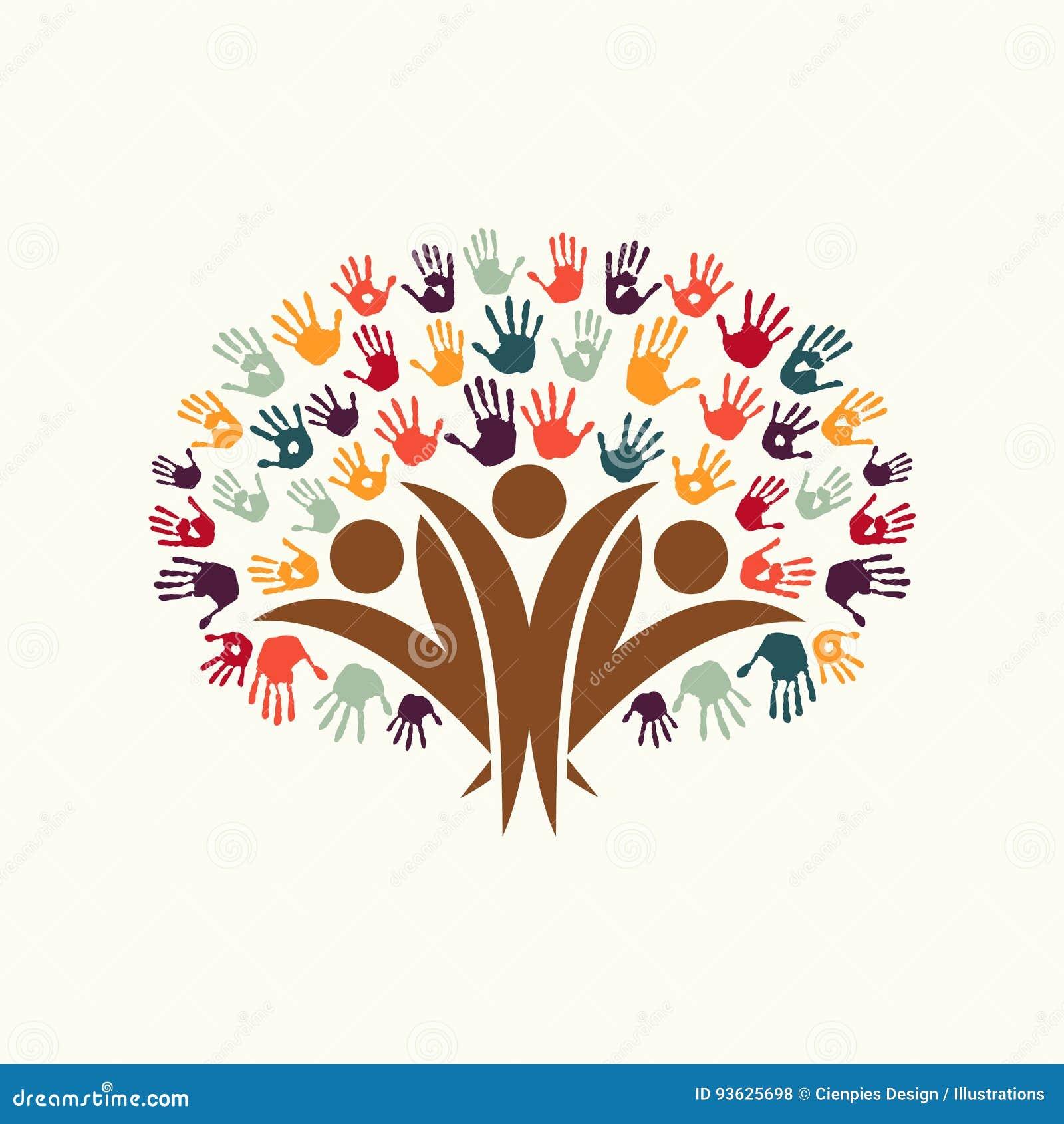 Hand Print People Tree Symbol For Community Help Stock