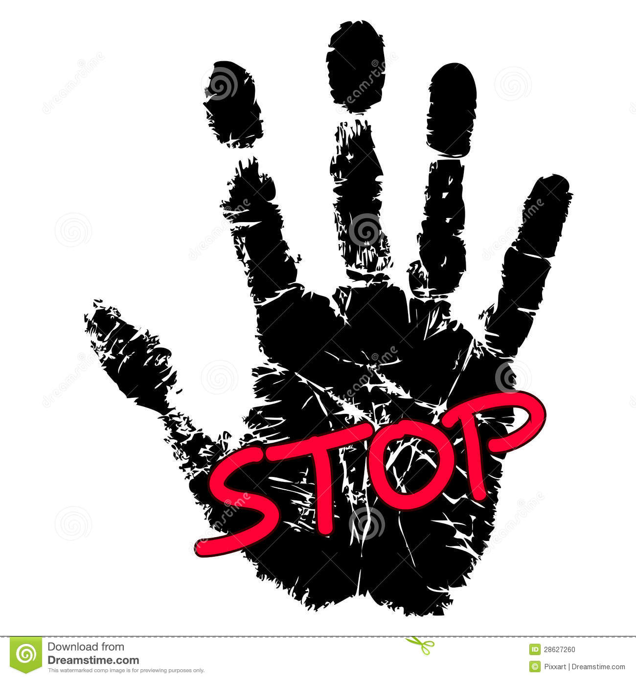 More similar stock images of ` Hand print with stop sign `