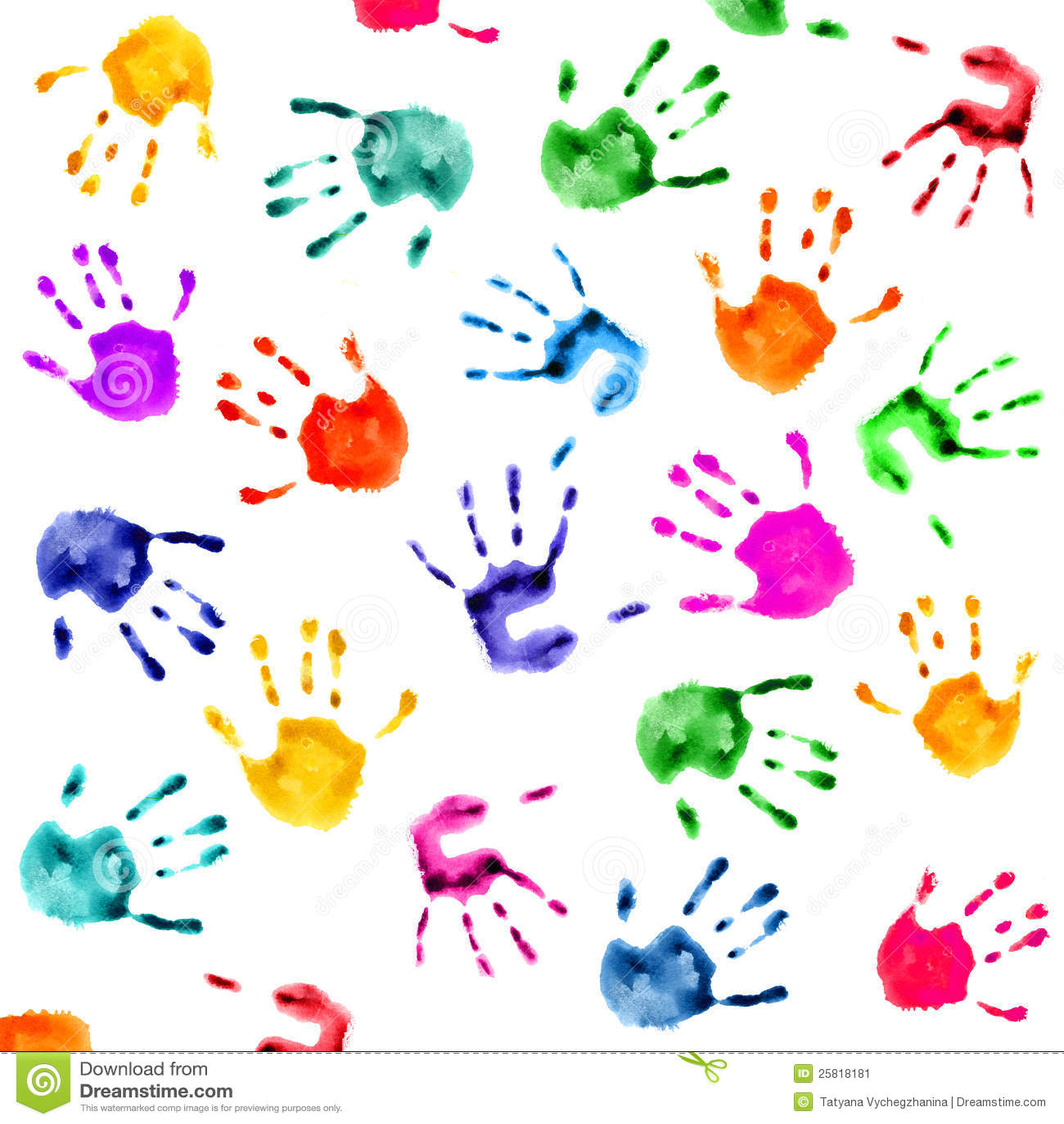 Hand Prints Background Stock Image - Image: 25818181
