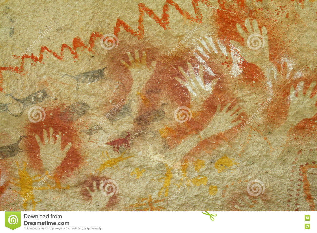 Hand prints on a cave wall stock photo. Image of caveman - 78110044