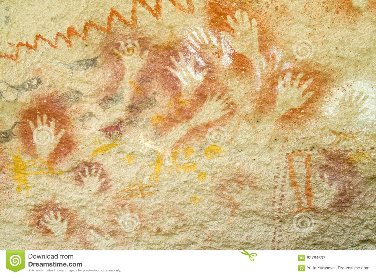 Hand prints on a cave wall stock illustration. Illustration of ...