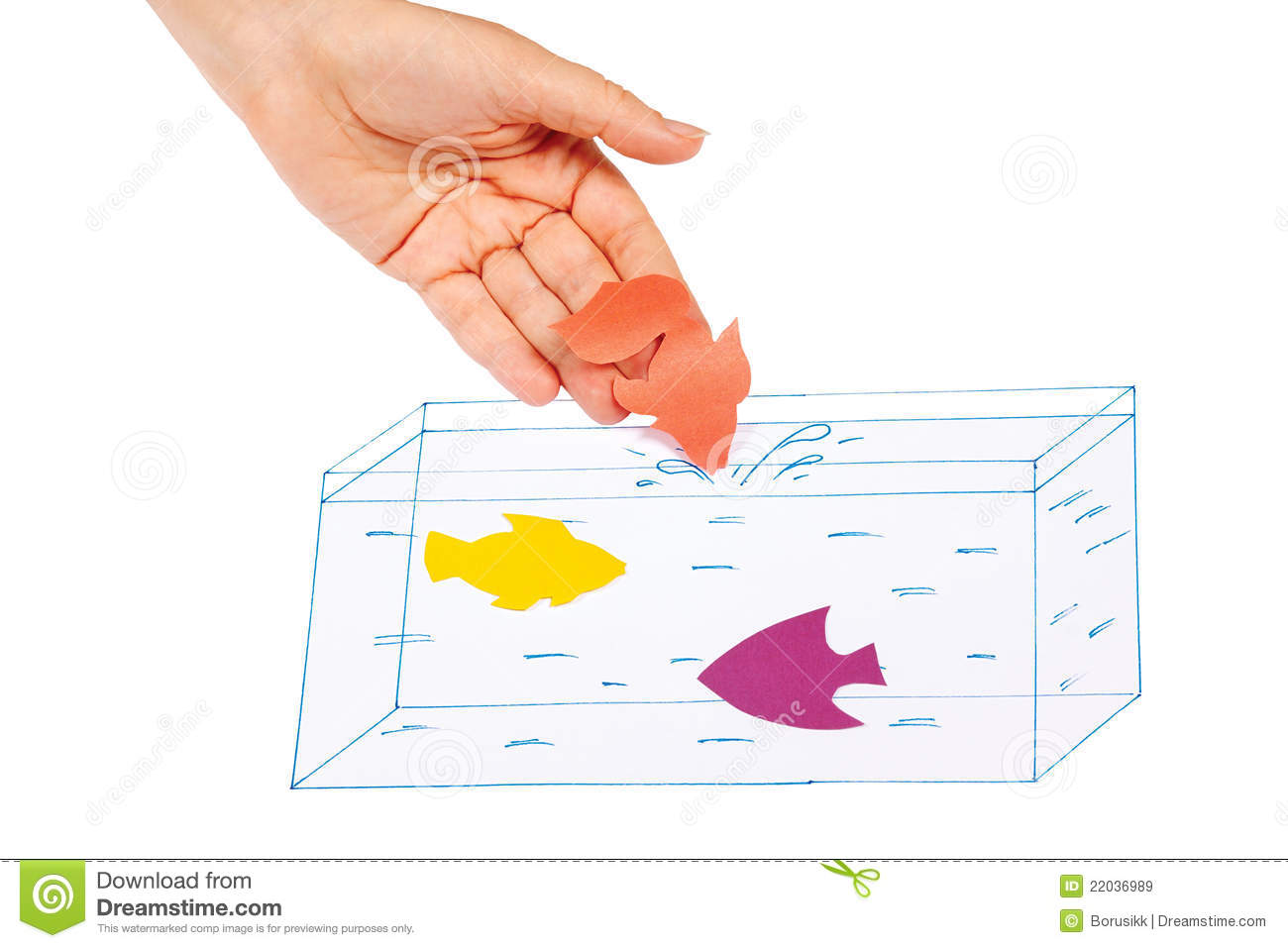 Hand Produces A Paper Fish In The Painted Aquarium Royalty