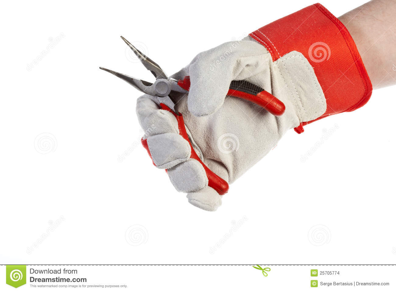 Hand With Protection Glove Holding Pliers Stock Photo
