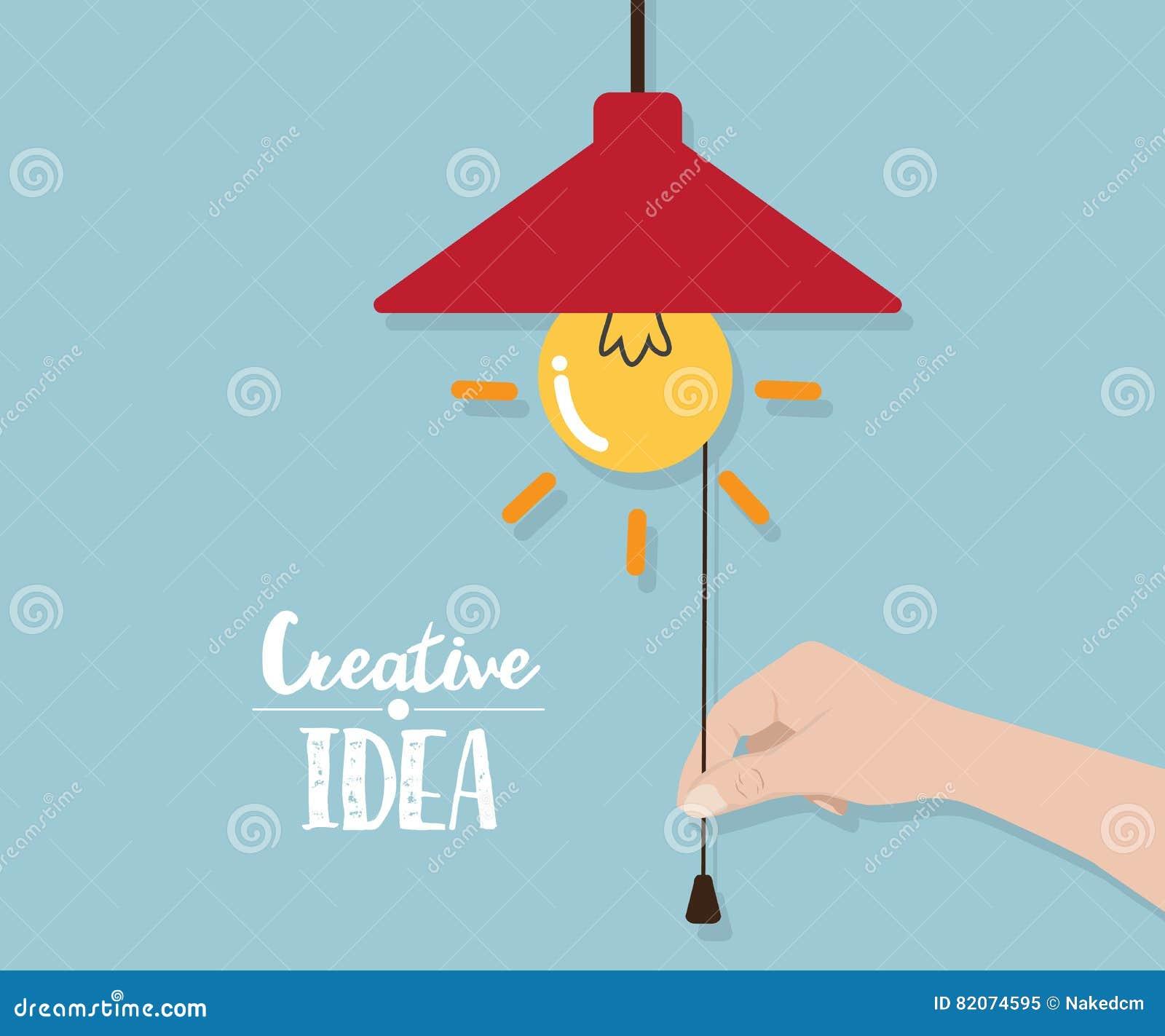 30 Creative Open Concept: Hand Pull Robe For Open Light Bulb Idea Cartoon Vector