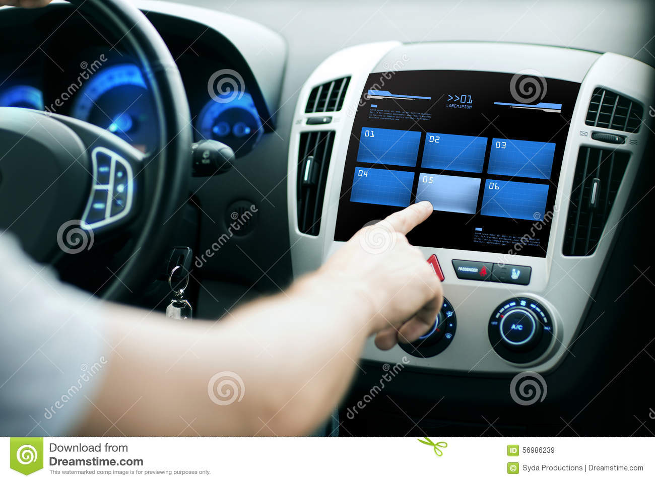 Vehicle Control Panel : Hand pushing button on car control panel screen stock