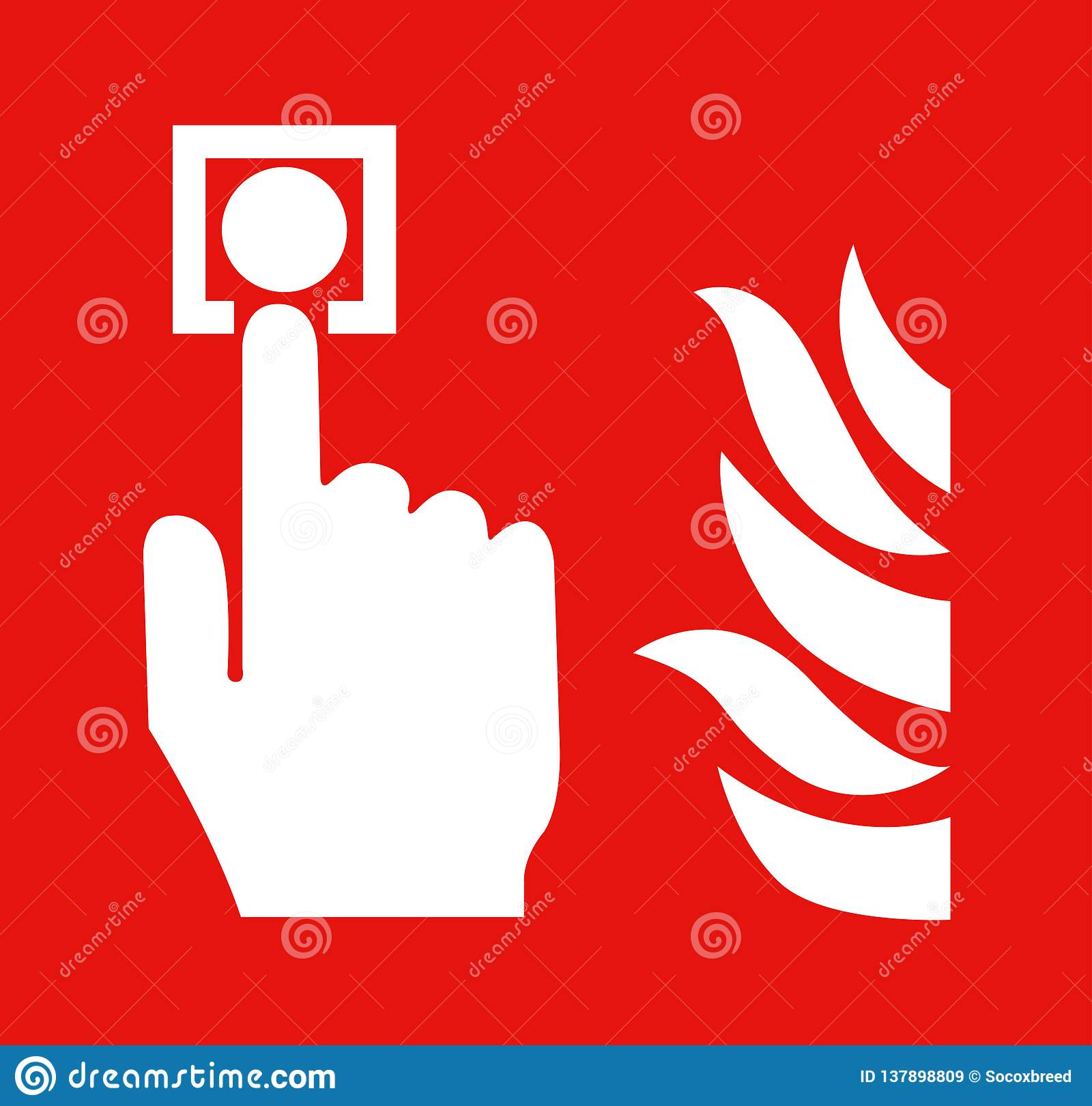 The hand is pushing fire alarm sign switch