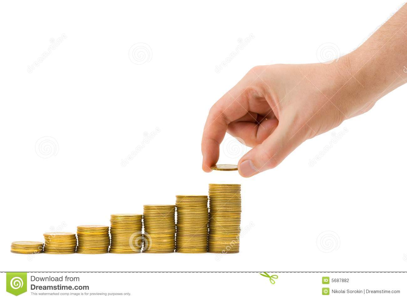 Hand Put Coin To Money    Staircase    Stock Photo  Image of