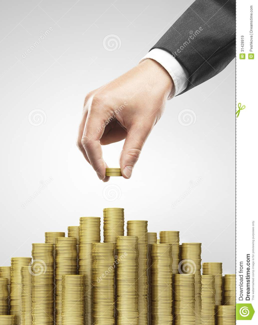 Hand Put Gold Coins Stock Image. Image Of Market, European