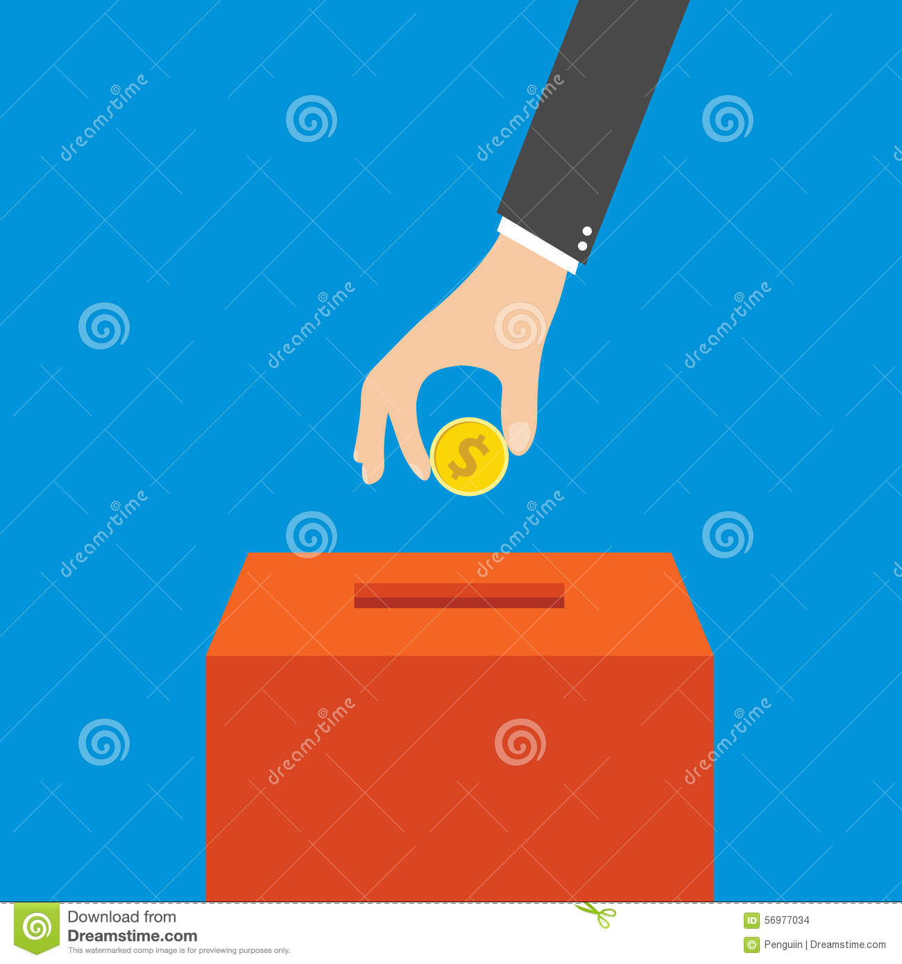 Hand putting coin in the box, vector