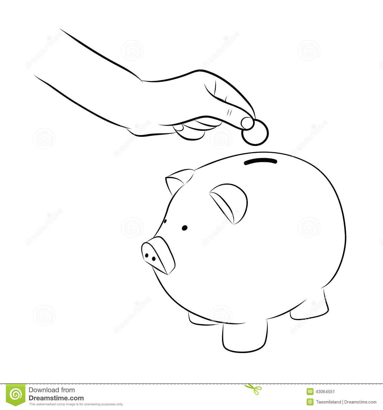 Line Drawing Piggy Bank : Hand putting coins money into saving piggy bank stock