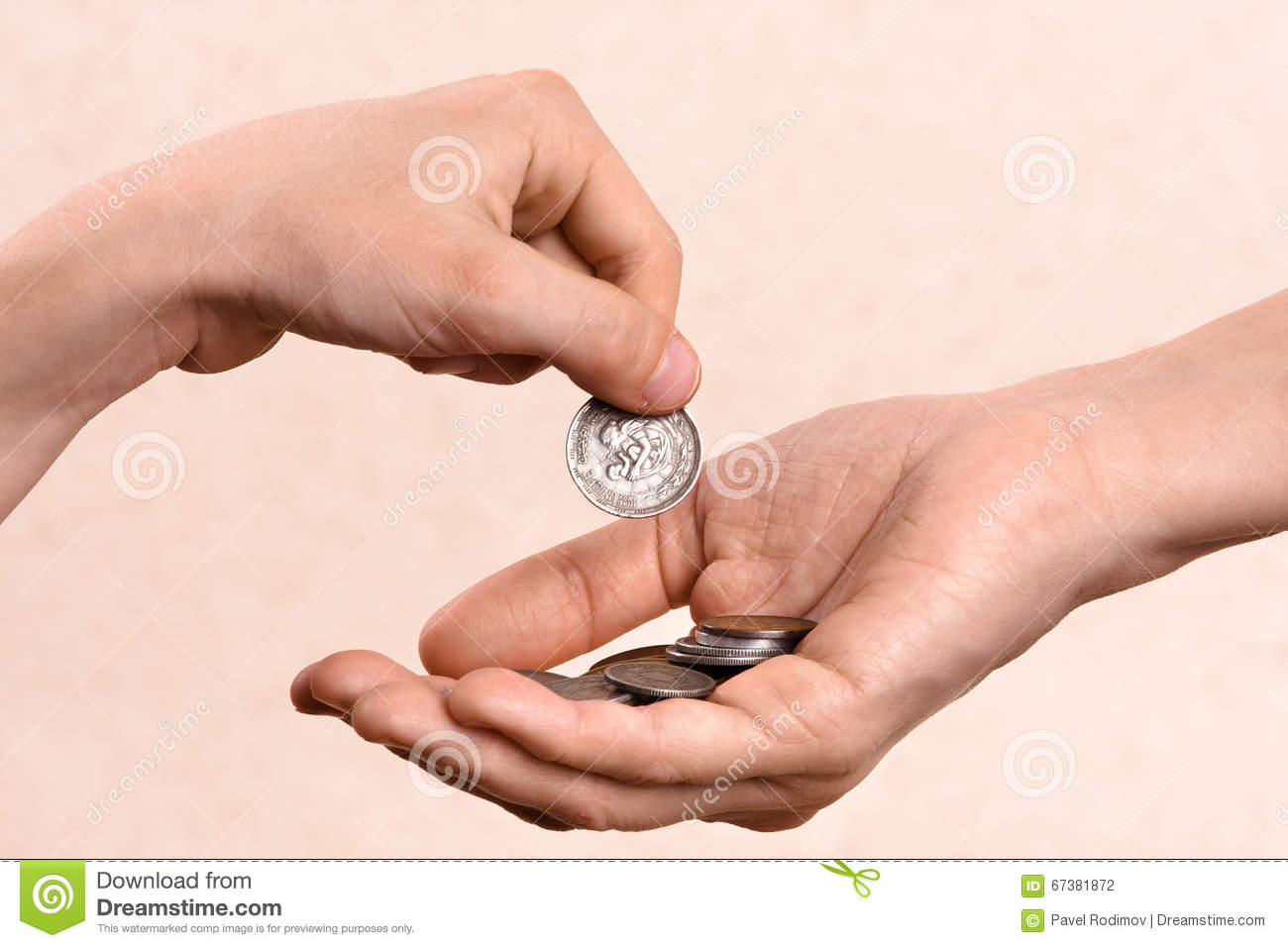 Image result for putting coins in a hand