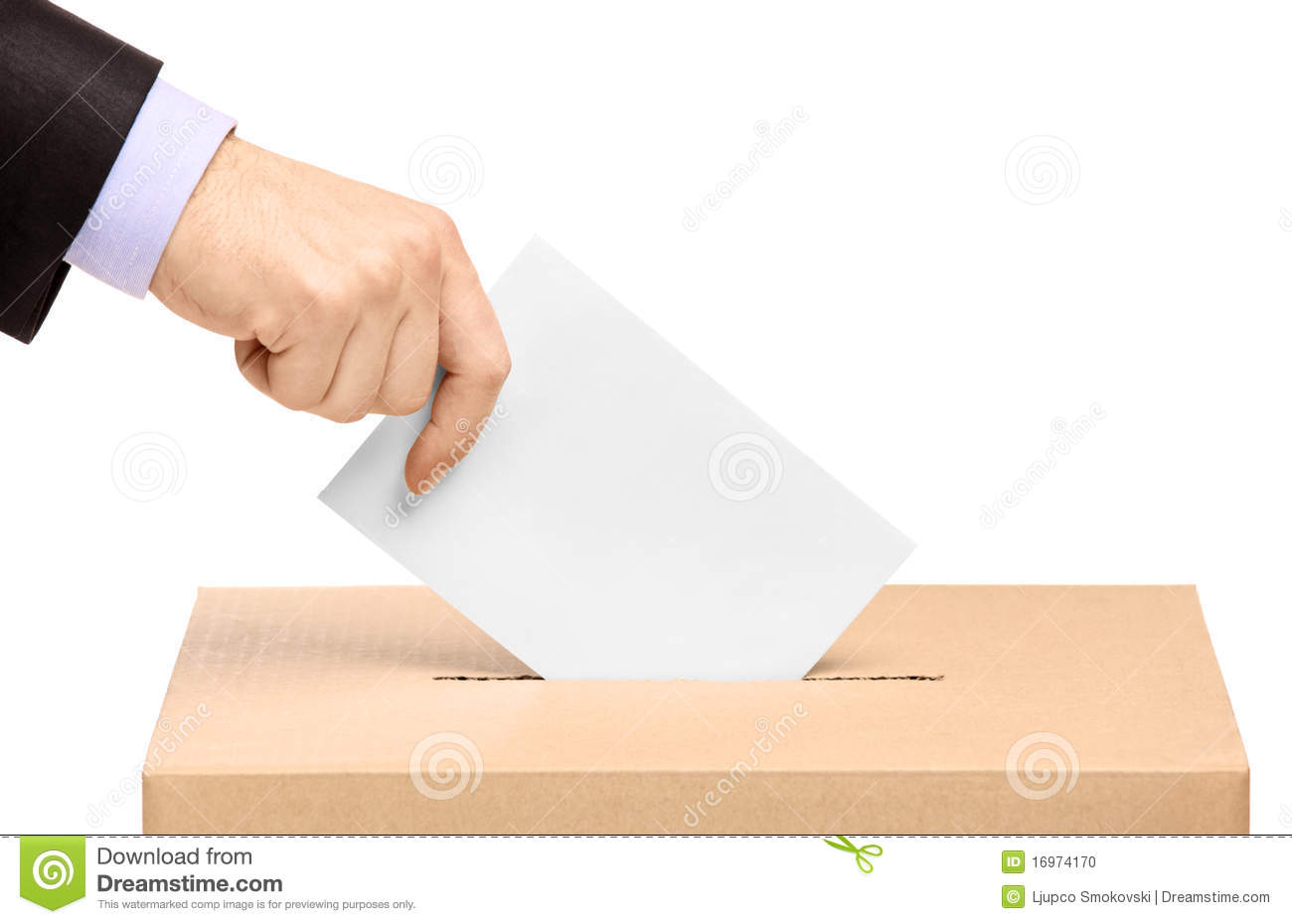Hand Putting A Voting Ballot In A Slot Of Box Stock Photo - Image ...