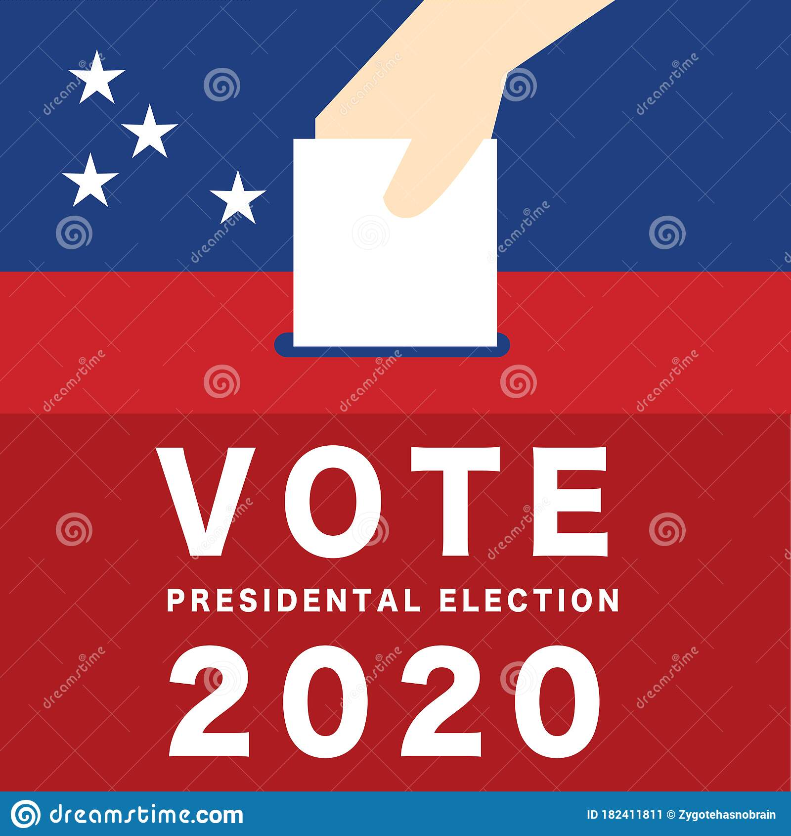 Hand Putting Voting Paper In The Ballot Box Usa Presidential Election 2020 Vector Stock Vector Illustration Of Democrat Candidate 182411811
