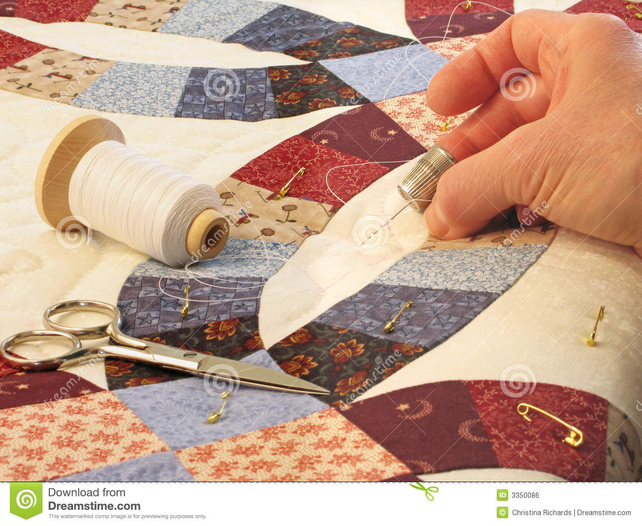 Hand Quilting Royalty Free Stock Image - Image: 3350086