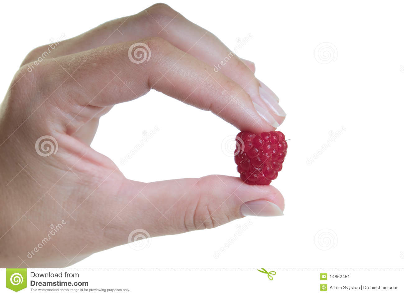 Hand with raspberry