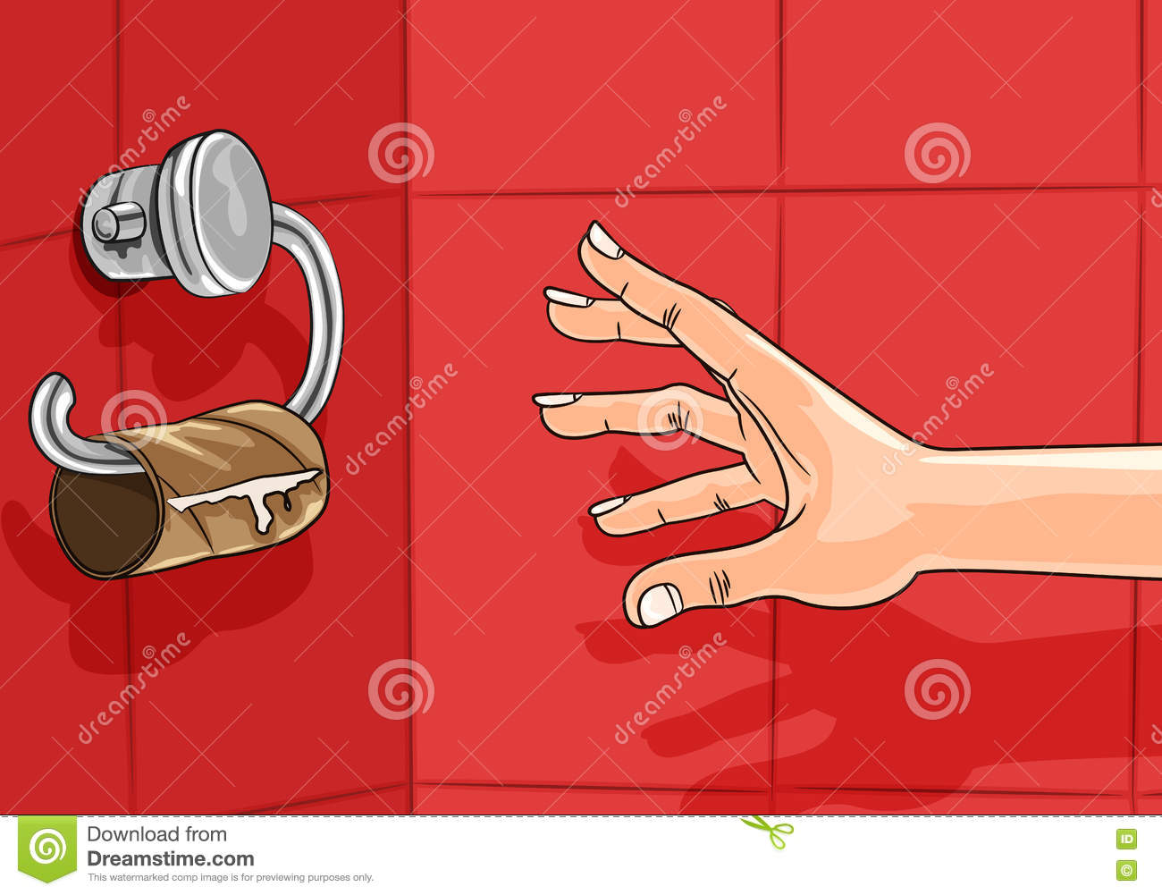 Hand Reaching For Empty Toilet Paper Roll Cartoon Vector