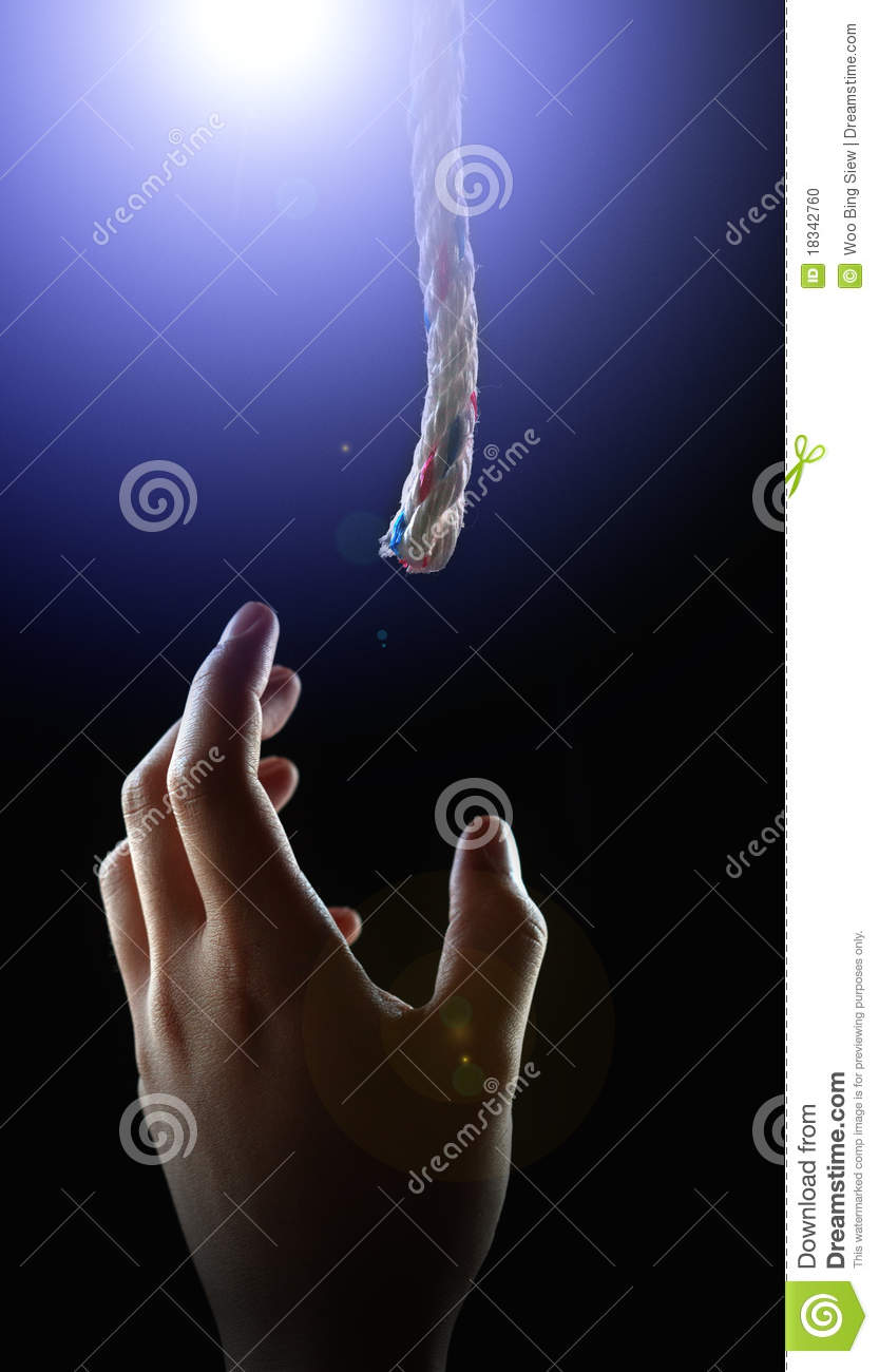 Hand reaching for helping rope