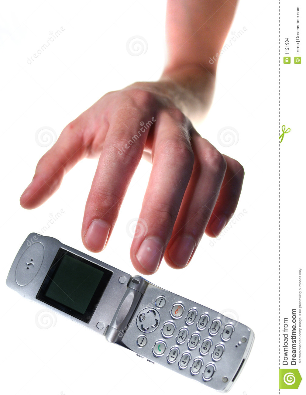 Hand reaching for mobile phone