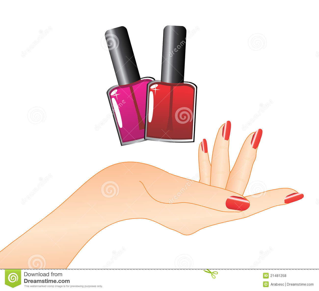 Hand With Red Nail Polish Royalty Free Stock Photos - Image: 21481258