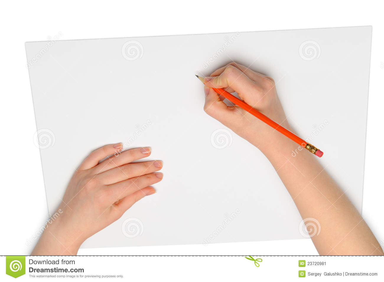 Hand With Red Pencil Stock Image Image 23720981