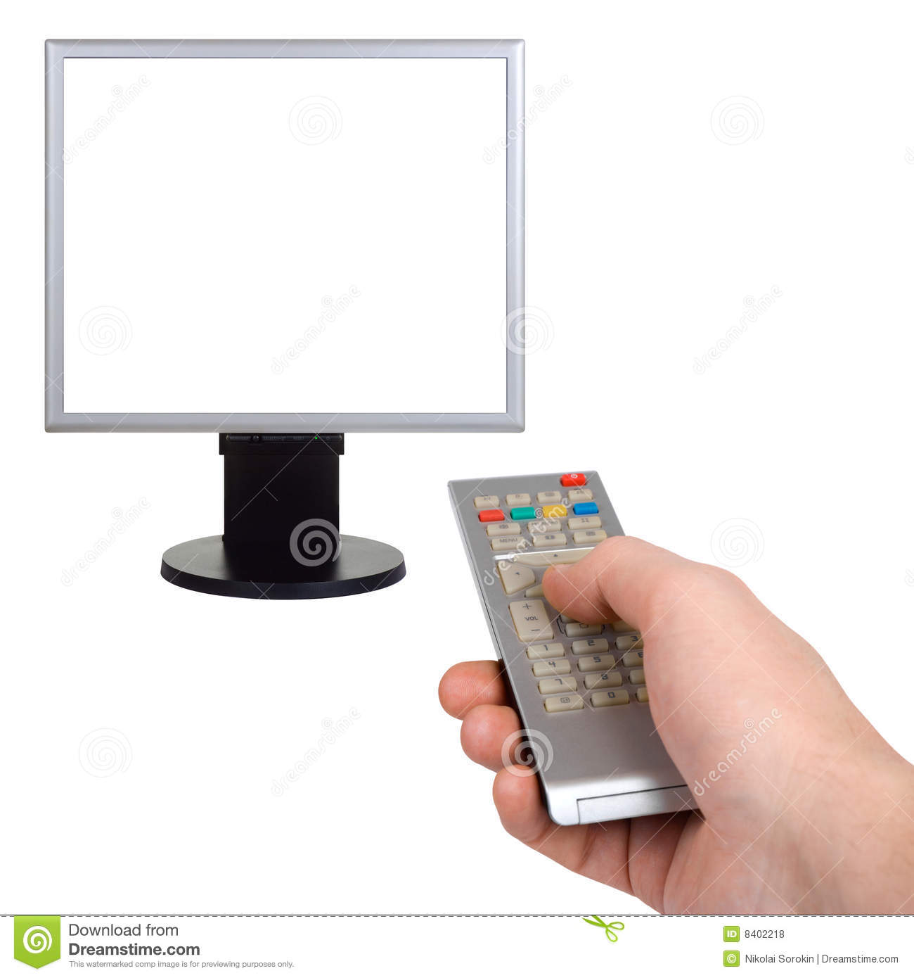 Hand With Remote Control And Tv Stock Photo - Image of copyspace