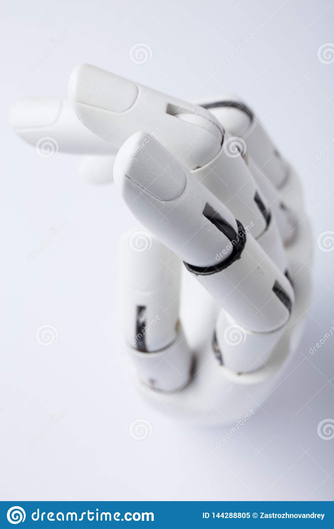 Hand of a robot on a white background