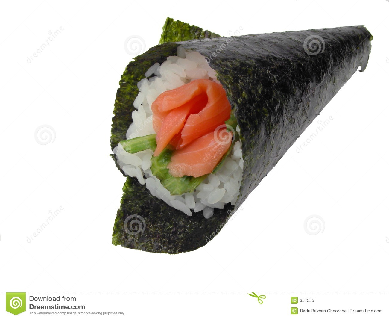 Hand roll salmon sushi stock image. Image of isolated ...