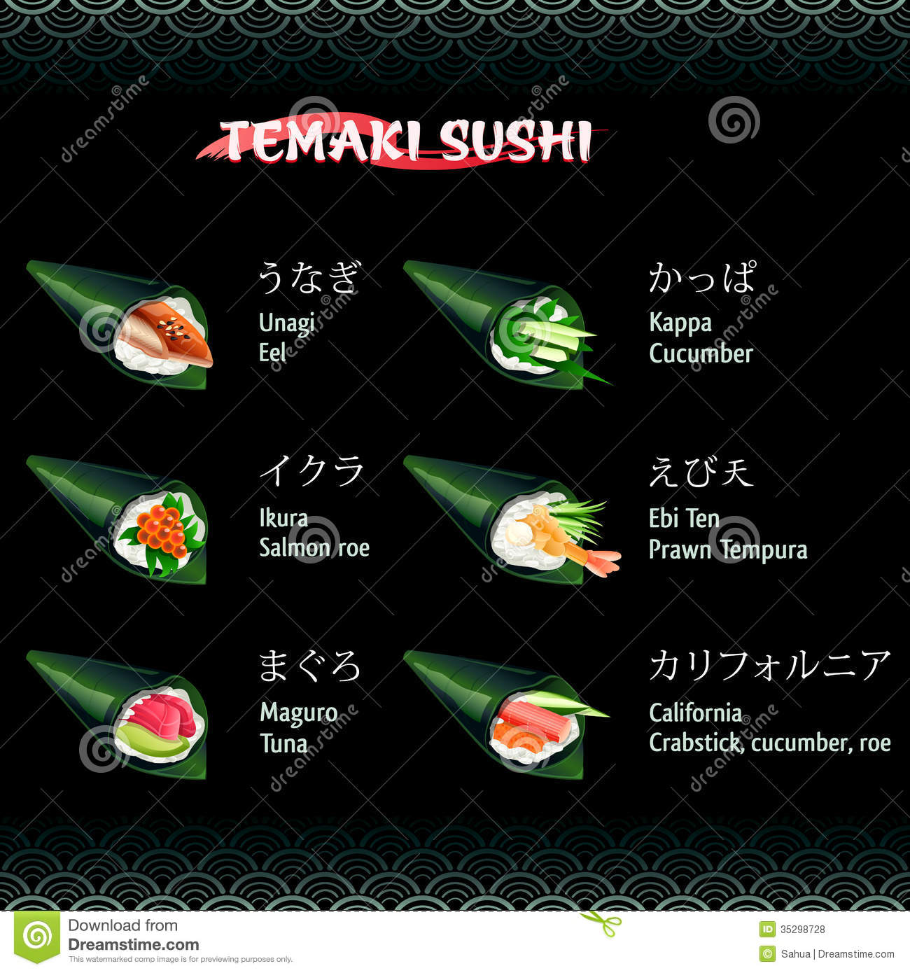 Hand Roll Sushi Temaki Royalty Free Stock Photos - Image: 35298728