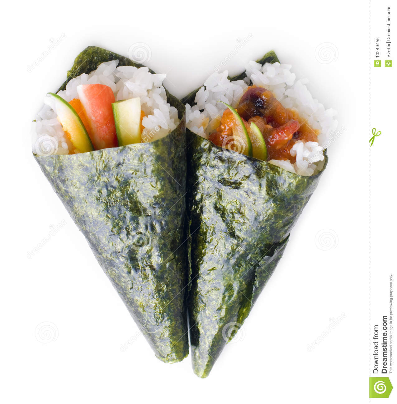 Hand rolled temaki sushi traditional japanese cuisine isolated on ...